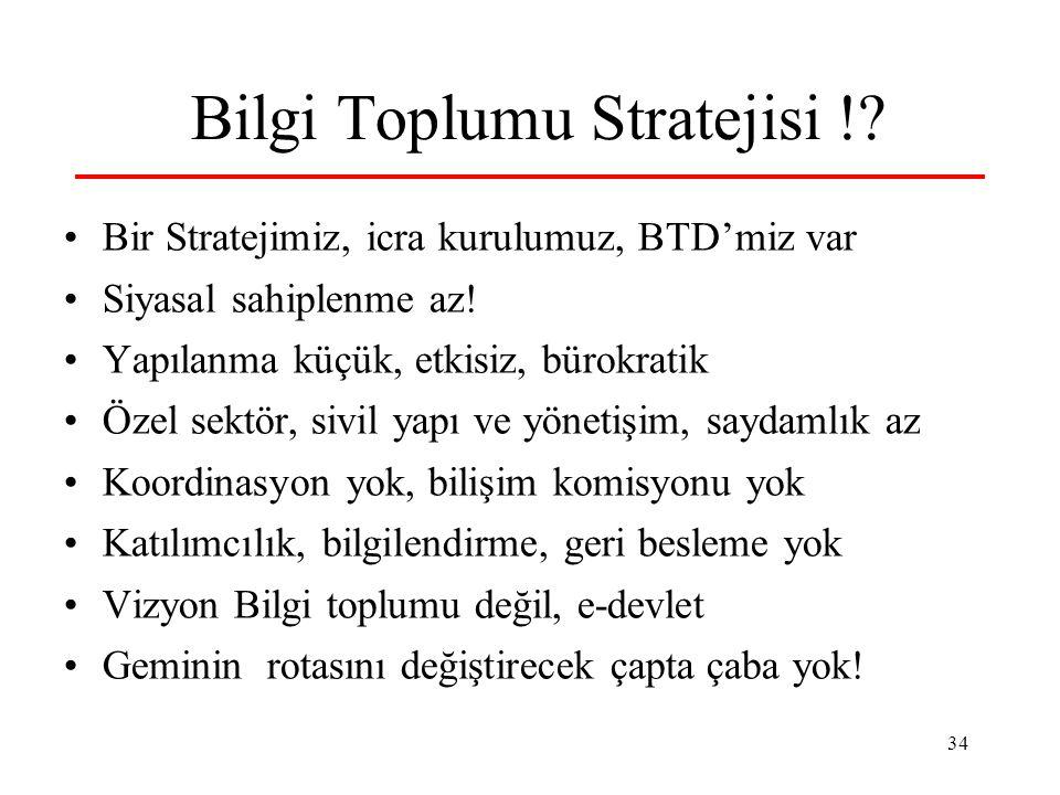 34 Bilgi Toplumu Stratejisi !? Bir Stratejimiz, icra kurulumuz, BTD'miz var Siyasal sahiplenme az! Yapılanma küçük, etkisiz, bürokratik Özel sektör, s