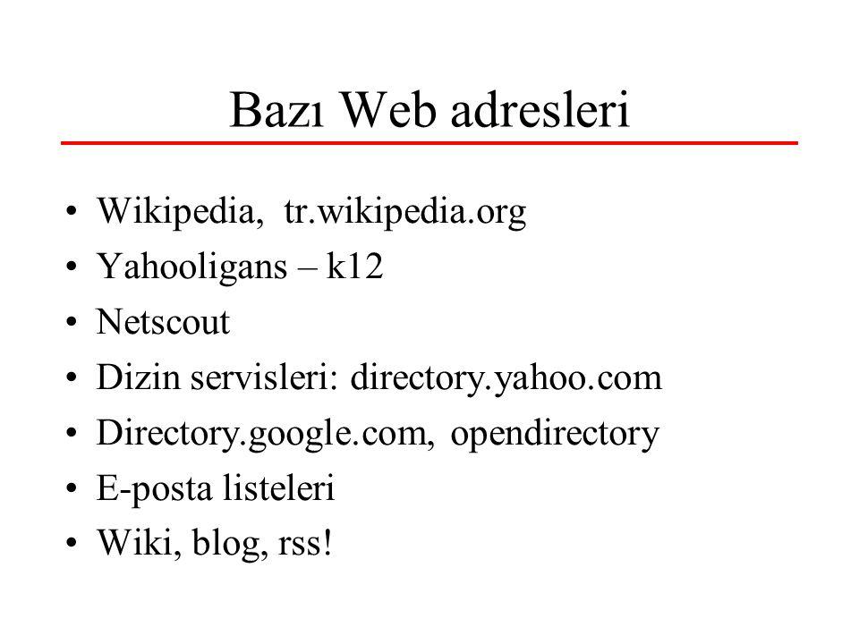 Bazı Web adresleri Wikipedia, tr.wikipedia.org Yahooligans – k12 Netscout Dizin servisleri: directory.yahoo.com Directory.google.com, opendirectory E-