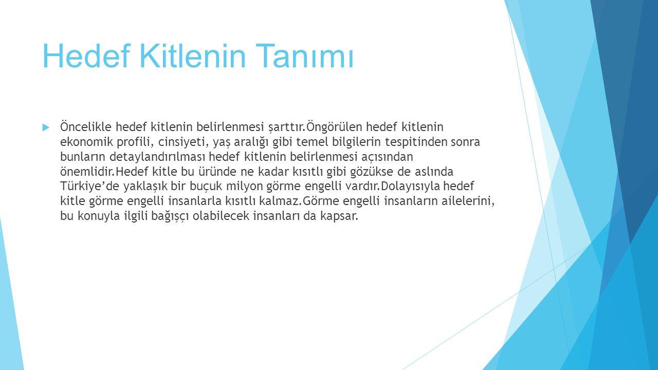 Hedef Kitlenin Tanımı  Öncelikle hedef kitlenin belirlenmesi şarttır.Öngörülen hedef kitlenin ekonomik profili, cinsiyeti, yaş aralığı gibi temel bilgilerin tespitinden sonra bunların detaylandırılması hedef kitlenin belirlenmesi açısından önemlidir.Hedef kitle bu üründe ne kadar kısıtlı gibi gözükse de aslında Türkiye'de yaklaşık bir buçuk milyon görme engelli vardır.Dolayısıyla hedef kitle görme engelli insanlarla kısıtlı kalmaz.Görme engelli insanların ailelerini, bu konuyla ilgili bağışçı olabilecek insanları da kapsar.