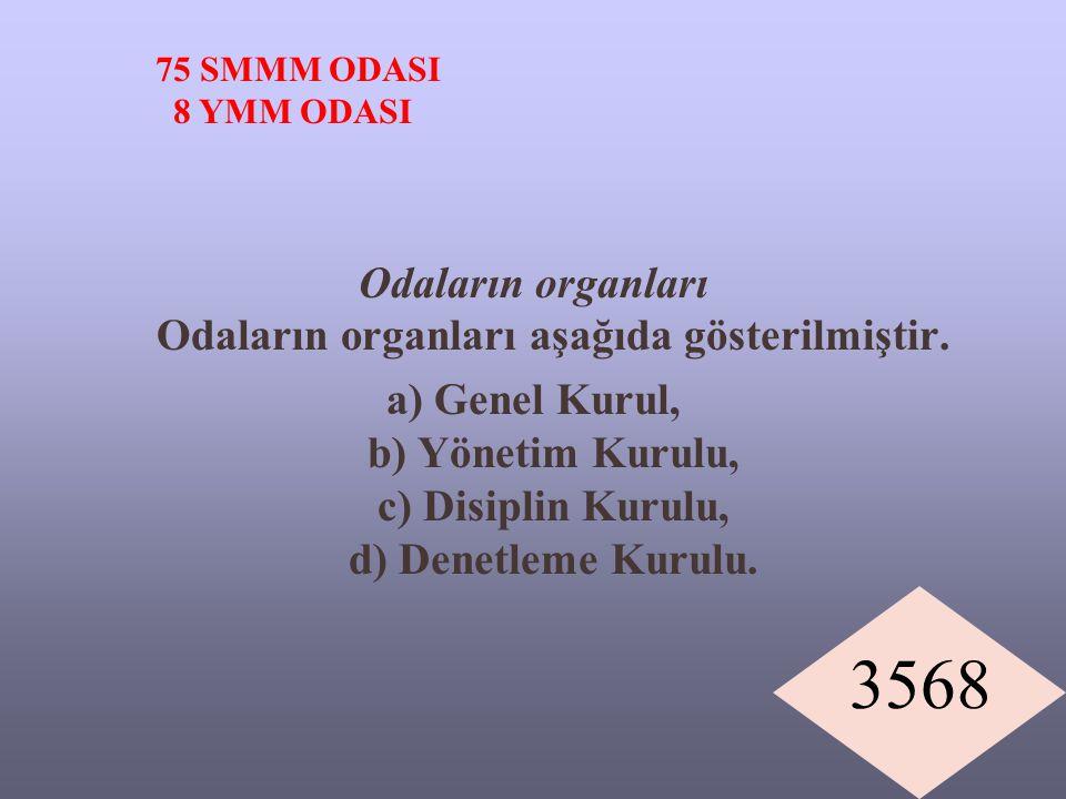 3568 Odaların organları Odaların organları aşağıda gösterilmiştir. a) Genel Kurul, b) Yönetim Kurulu, c) Disiplin Kurulu, d) Denetleme Kurulu. 75 SMMM