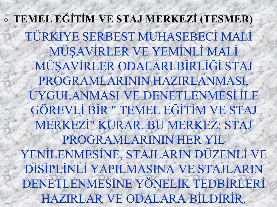5786 STAJ VE STAJ SÜRESİNDEN SAYILAN HALLER g)Vergi yargısında görev yapan hakimlerin bu görevlerde geçen süreleri, h) Türkiye genelinde mali denetim yapan banka müfettişlerinden yarışma sınavı ile mesleğe giren ve yeterlilik sınavında başarılı olanların, bu yetkiyi aldıkları tarihten itibaren bankalarda ve diğer kamu kurum ve kuruluşlarında geçen süreleri, ı) Kamu kuruluşlarının veya bilanço esasında defter tutan özel kuruluşların muhasebe birimlerinde birinci derece imza yetkisini haiz, muhasebenin fiilen sevk ve idare edilmesinden veya mali denetiminden sorumlu bulunanların bu hizmetlerde geçen süreleri ile bu birimlerde görev yapan serbest muhasebeci mali müşavir veya yeminli mali müşavirlerin gözetim ve denetiminde bunların sayısını geçmemek üzere, oda nezdinde staj dosyası açtırmış ve staja başlama sınavını kazanmış olan aday meslek mensuplarının staja başlama sınavını kazandıkları tarihten itibaren, staj koşullarını yerine getirmeleri halinde bu hizmetlerde geçen süreleri,