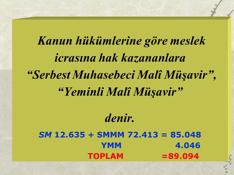 """Kanun hükümlerine göre meslek icrasına hak kazananlara """"Serbest Muhasebeci Malî Müşavir"""", """"Yeminli Malî Müşavir"""" denir. SM 12.635 + SMMM 72.413 = 85.0"""