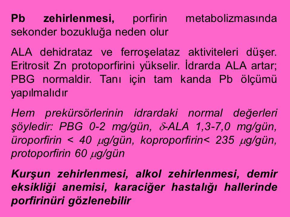 Pb zehirlenmesi, porfirin metabolizmasında sekonder bozukluğa neden olur ALA dehidrataz ve ferroşelataz aktiviteleri düşer. Eritrosit Zn protoporfirin