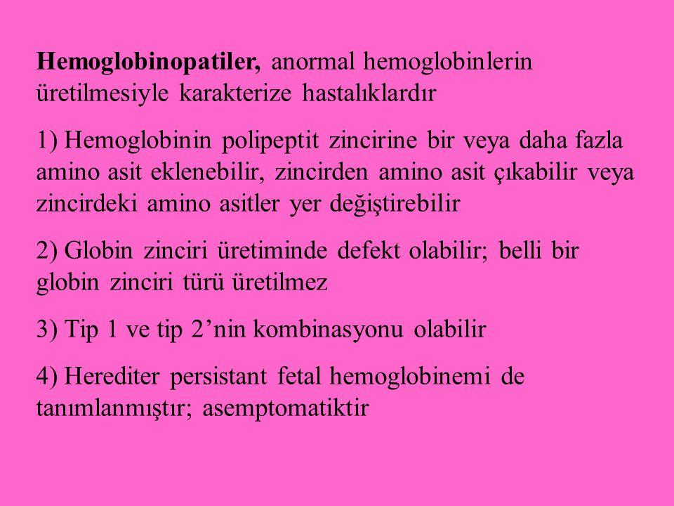 Hemoglobinopatiler, anormal hemoglobinlerin üretilmesiyle karakterize hastalıklardır 1) Hemoglobinin polipeptit zincirine bir veya daha fazla amino as