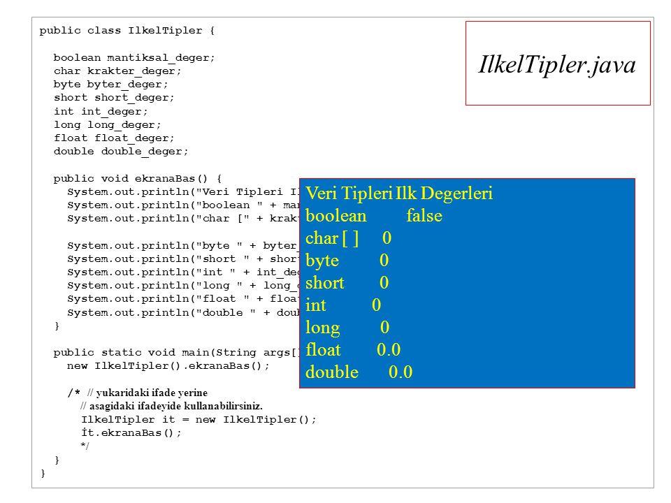 IlkelTipler.java public class IlkelTipler { boolean mantiksal_deger; char krakter_deger; byte byter_deger; short short_deger; int int_deger; long long_deger; float float_deger; double double_deger; public void ekranaBas() { System.out.println( Veri Tipleri Ilk Degerleri ); System.out.println( boolean + mantiksal_deger ); System.out.println( char [ + krakter_deger + ] + (int)krakter_deger ); System.out.println( byte + byter_deger ); System.out.println( short + short_deger ); System.out.println( int + int_deger ); System.out.println( long + long_deger ); System.out.println( float + float_deger ); System.out.println( double + double_deger); } public static void main(String args[]) { new IlkelTipler().ekranaBas(); /* // yukaridaki ifade yerine // asagidaki ifadeyide kullanabilirsiniz.