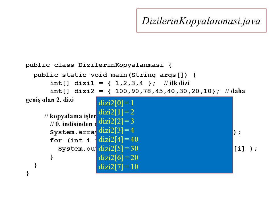 DizilerinKopyalanmasi.java public class DizilerinKopyalanmasi { public static void main(String args[]) { int[] dizi1 = { 1,2,3,4 }; // ilk dizi int[] dizi2 = { 100,90,78,45,40,30,20,10}; // daha geniş olan 2.