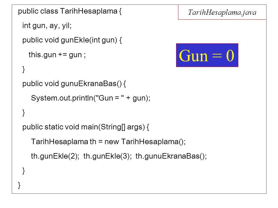 Yumurta.java public class Yumurta { int toplam_yumurta_sayisi = 0; Yumurta sepeteKoy() { toplam_yumurta_sayisi++; return this; } void goster() { System.out.println( toplam_yumurta_sayisi = + toplam_yumurta_sayisi); } public static void main(String[] args) { Yumurta y = new Yumurta(); y.sepeteKoy().sepeteKoy().sepeteKoy().goster(); } } toplam_yumurta_sayisi = 3