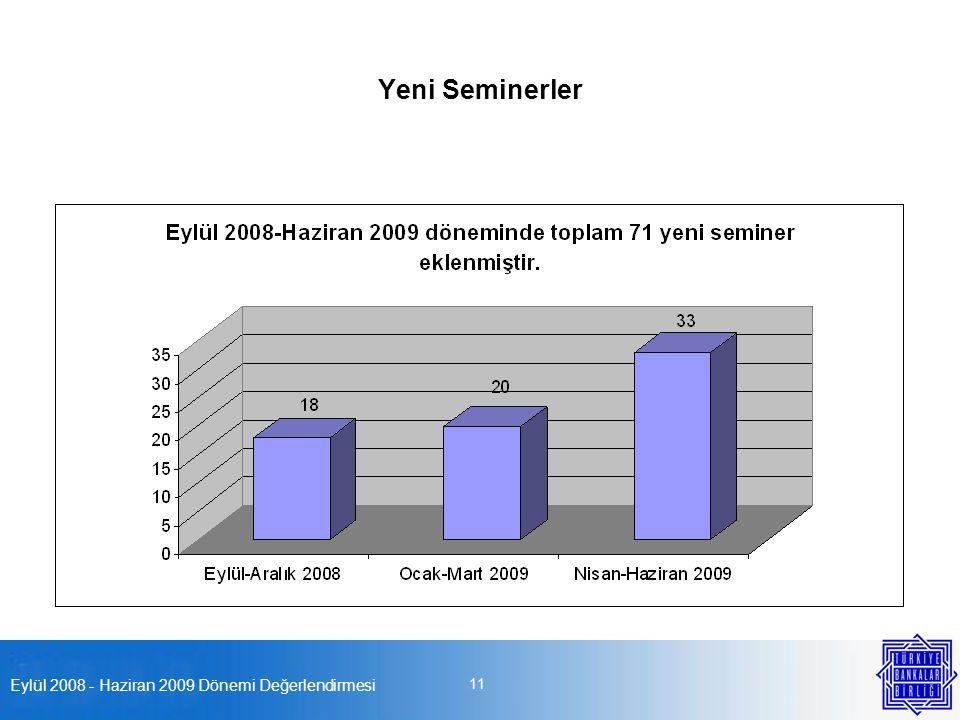 Eylül 2008 - Haziran 2009 Dönemi Değerlendirmesi 11 Yeni Seminerler