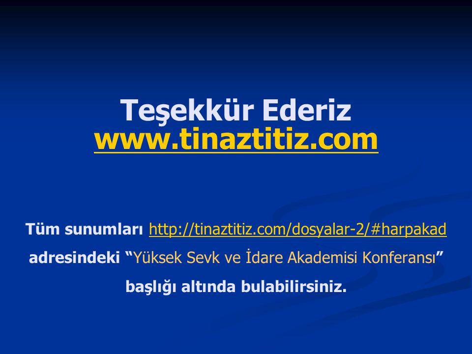 """Teşekkür Ederiz www.tinaztitiz.com Tüm sunumları http://tinaztitiz.com/dosyalar-2/#harpakad adresindeki """"Yüksek Sevk ve İdare Akademisi Konferansı"""" ba"""