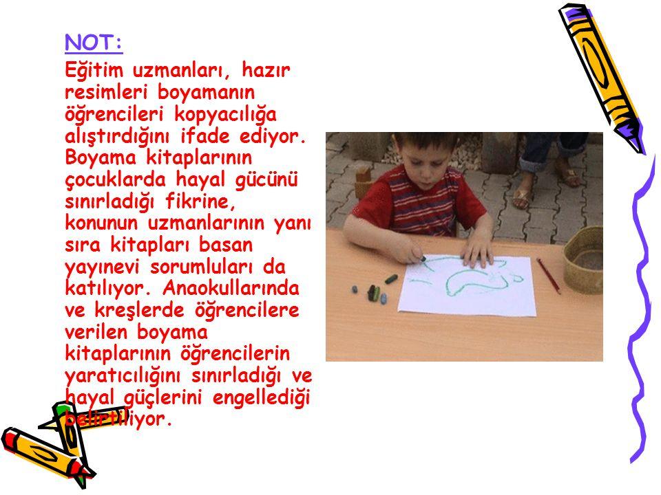 NOT: Eğitim uzmanları, hazır resimleri boyamanın öğrencileri kopyacılığa alıştırdığını ifade ediyor. Boyama kitaplarının çocuklarda hayal gücünü sınır
