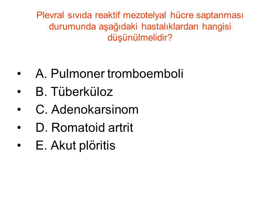 Plevral sıvıda reaktif mezotelyal hücre saptanması durumunda aşağıdaki hastalıklardan hangisi düşünülmelidir? A. Pulmoner tromboemboli B. Tüberküloz C