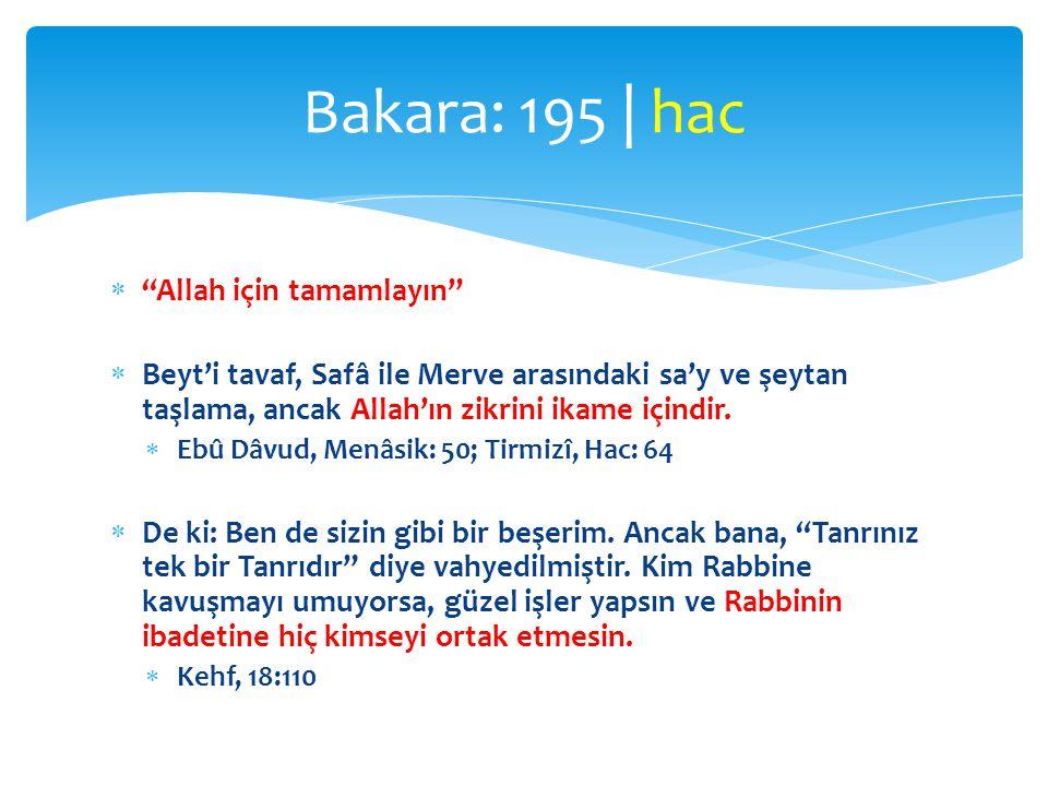 """ """"Allah için tamamlayın""""  Beyt'i tavaf, Safâ ile Merve arasındaki sa'y ve şeytan taşlama, ancak Allah'ın zikrini ikame içindir.  Ebû Dâvud, Menâsik"""