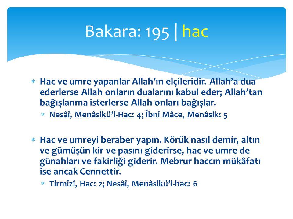  Hac ve umre yapanlar Allah'ın elçileridir. Allah'a dua ederlerse Allah onların dualarını kabul eder; Allah'tan bağışlanma isterlerse Allah onları ba