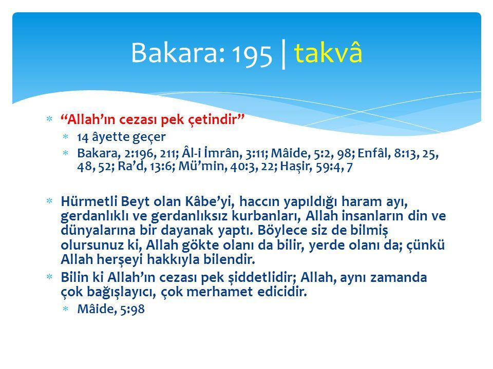 " ""Allah'ın cezası pek çetindir""  14 âyette geçer  Bakara, 2:196, 211; Âl-i İmrân, 3:11; Mâide, 5:2, 98; Enfâl, 8:13, 25, 48, 52; Ra'd, 13:6; Mü'min"