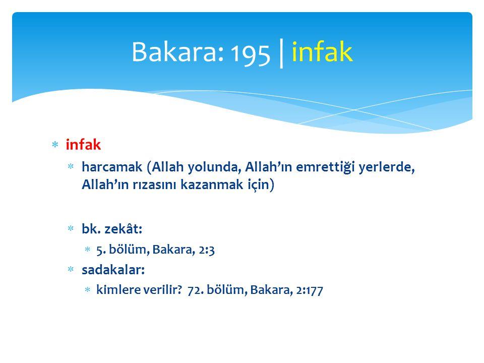  infak  harcamak (Allah yolunda, Allah'ın emrettiği yerlerde, Allah'ın rızasını kazanmak için)  bk. zekât:  5. bölüm, Bakara, 2:3  sadakalar:  k