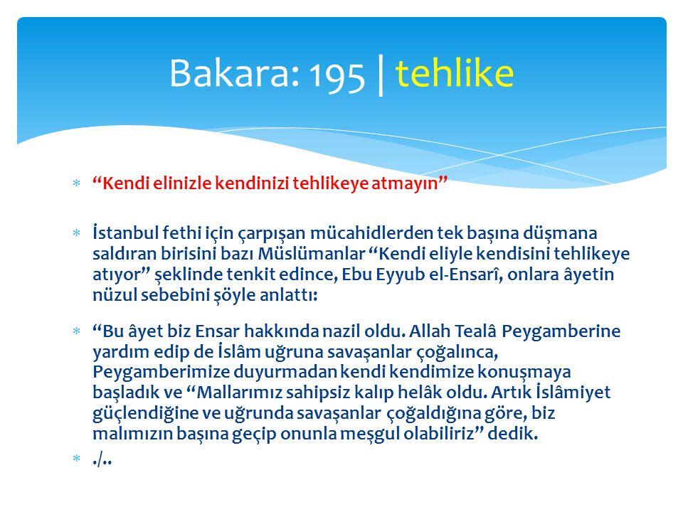 """ """"Kendi elinizle kendinizi tehlikeye atmayın""""  İstanbul fethi için çarpışan mücahidlerden tek başına düşmana saldıran birisini bazı Müslümanlar """"Ken"""