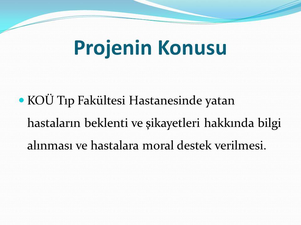 Projenin Konusu KOÜ Tıp Fakültesi Hastanesinde yatan hastaların beklenti ve şikayetleri hakkında bilgi alınması ve hastalara moral destek verilmesi.