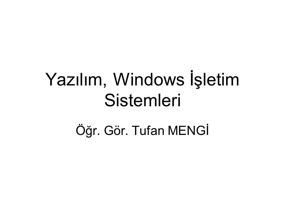 Yazılım, Windows İşletim Sistemleri Öğr. Gör. Tufan MENGİ