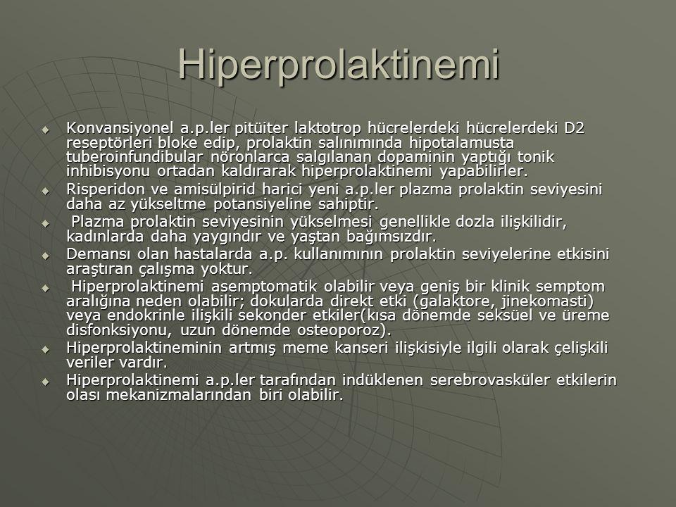 Hiperprolaktinemi  Konvansiyonel a.p.ler pitüiter laktotrop hücrelerdeki hücrelerdeki D2 reseptörleri bloke edip, prolaktin salınımında hipotalamusta