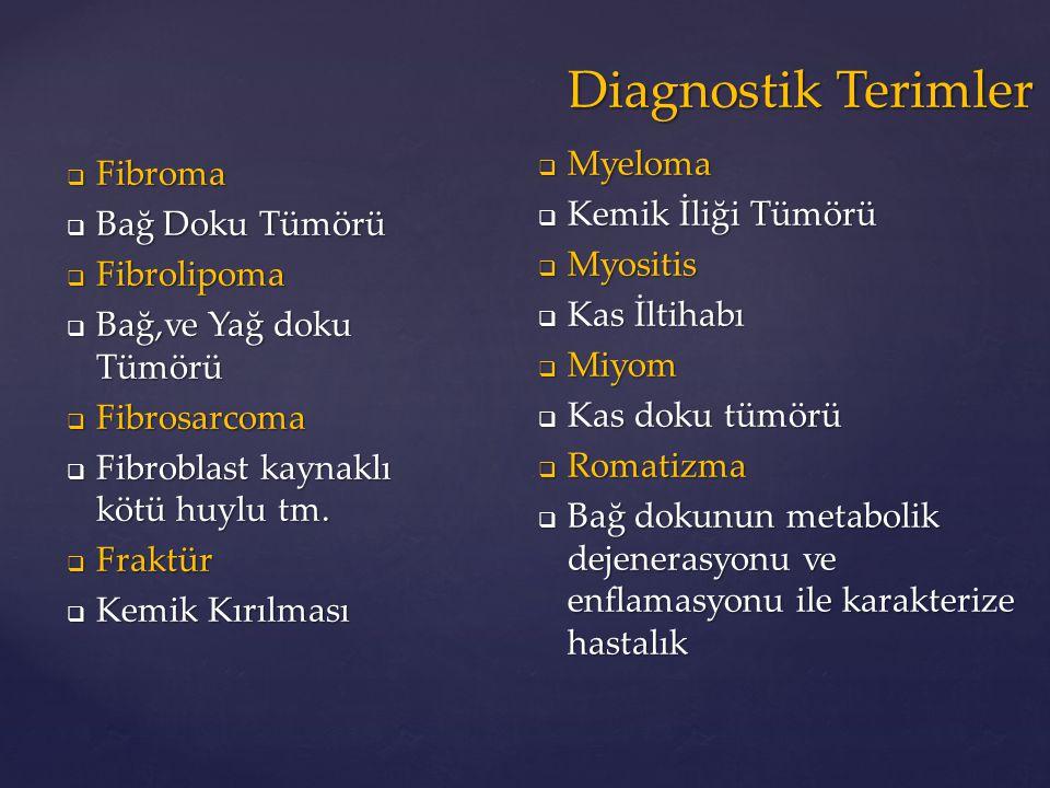  Fibroma  Bağ Doku Tümörü  Fibrolipoma  Bağ,ve Yağ doku Tümörü  Fibrosarcoma  Fibroblast kaynaklı kötü huylu tm.  Fraktür  Kemik Kırılması  M
