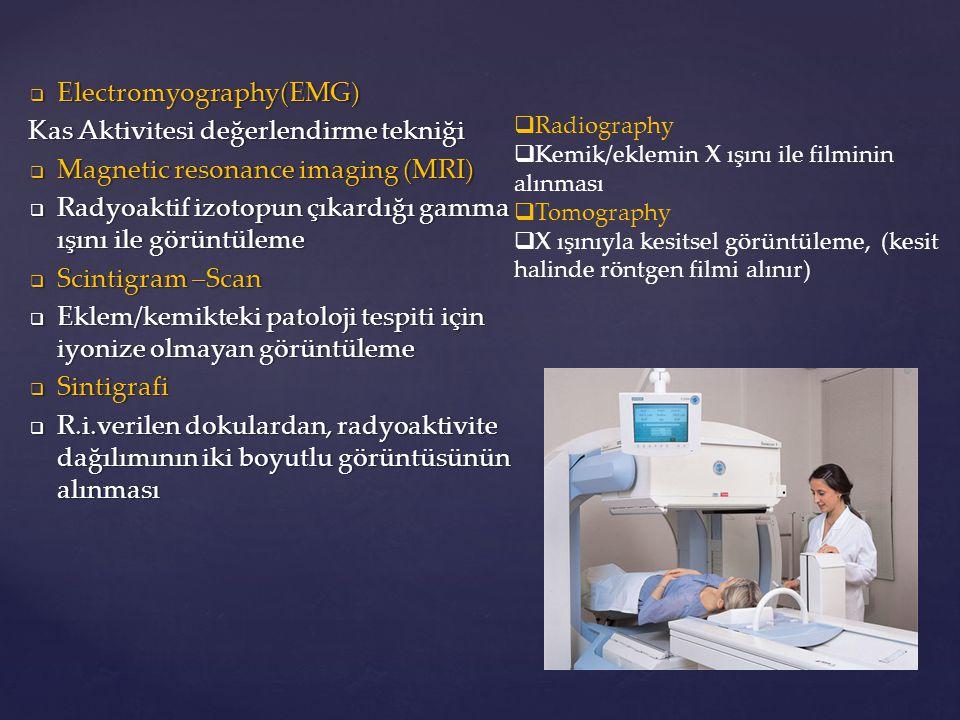  Electromyography(EMG) Kas Aktivitesi değerlendirme tekniği  Magnetic resonance imaging (MRI)  Radyoaktif izotopun çıkardığı gamma ışını ile görünt