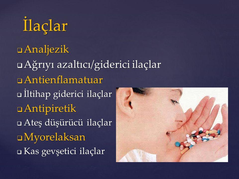  Analjezik  Ağrıyı azaltıcı/giderici ilaçlar  Antienflamatuar  İltihap giderici ilaçlar  Antipiretik  Ateş düşürücü ilaçlar  Myorelaksan  Kas