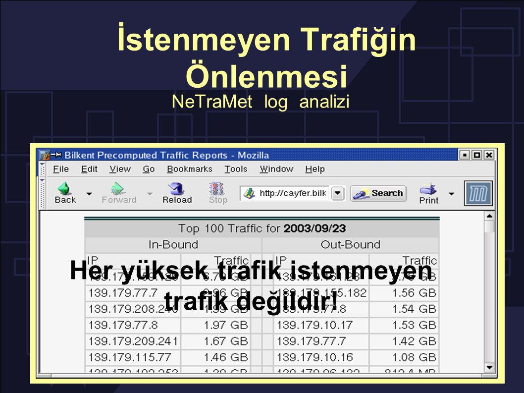 İstenmeyen Trafiğin Önlenmesi NeTraMet log analizi Her yüksek trafik istenmeyen trafik değildir!
