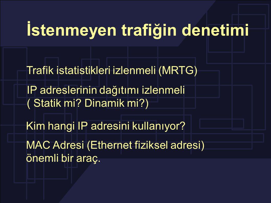 İstenmeyen trafiğin denetimi IP adreslerinin dağıtımı izlenmeli ( Statik mi.