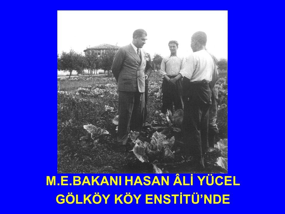 M.E.BAKANI HASAN ÂLİ YÜCEL GÖLKÖY KÖY ENSTİTÜ'NDE