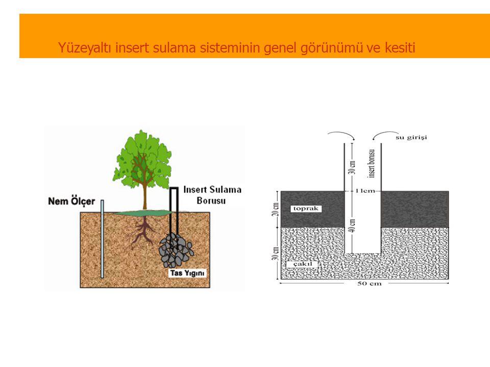 Yüzeyaltı insert sulama sisteminin genel görünümü ve kesiti