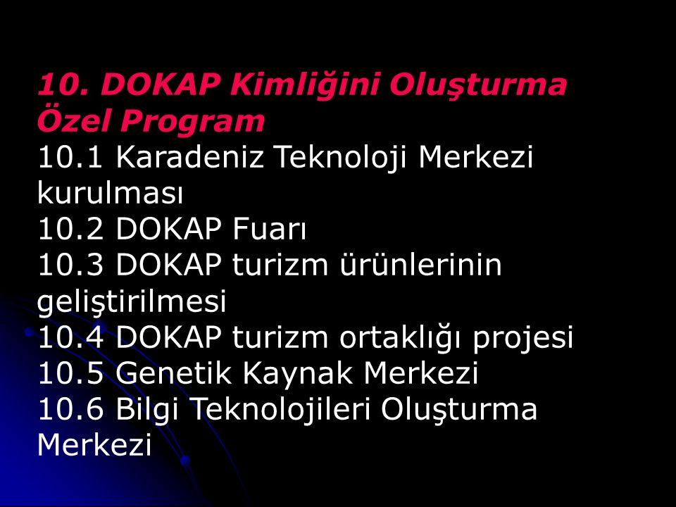 10. DOKAP Kimliğini Oluşturma Özel Program 10.1 Karadeniz Teknoloji Merkezi kurulması 10.2 DOKAP Fuarı 10.3 DOKAP turizm ürünlerinin geliştirilmesi 10