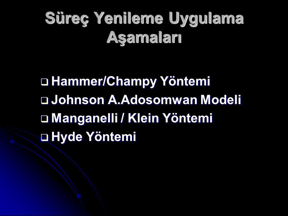 Süreç Yenileme Uygulama Aşamaları  Hammer/Champy Yöntemi  Johnson A.Adosomwan Modeli  Manganelli / Klein Yöntemi  Hyde Yöntemi