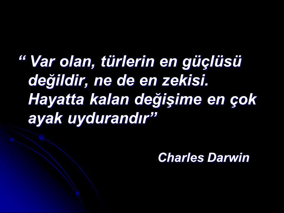 """"""" Var olan, türlerin en güçlüsü değildir, ne de en zekisi. Hayatta kalan değişime en çok ayak uydurandır"""" Charles Darwin Charles Darwin"""
