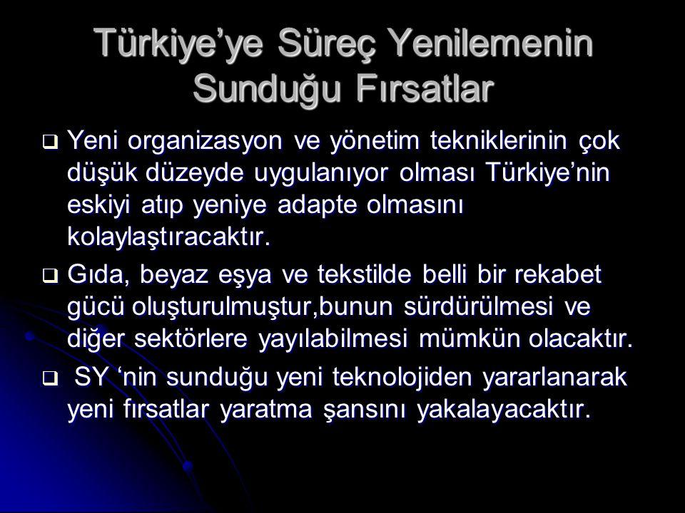 Türkiye'ye Süreç Yenilemenin Sunduğu Fırsatlar  Yeni organizasyon ve yönetim tekniklerinin çok düşük düzeyde uygulanıyor olması Türkiye'nin eskiyi at