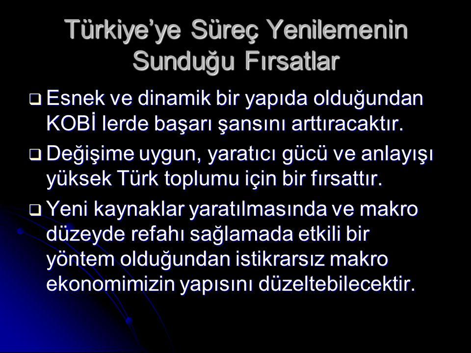 Türkiye'ye Süreç Yenilemenin Sunduğu Fırsatlar  Esnek ve dinamik bir yapıda olduğundan KOBİ lerde başarı şansını arttıracaktır.  Değişime uygun, yar