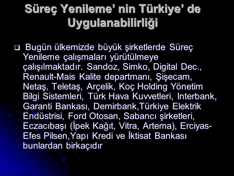 Süreç Yenileme' nin Türkiye' de Uygulanabilirliği  Bugün ülkemizde büyük şirketlerde Süreç Yenileme çalışmaları yürütülmeye çalışılmaktadır. Sandoz,