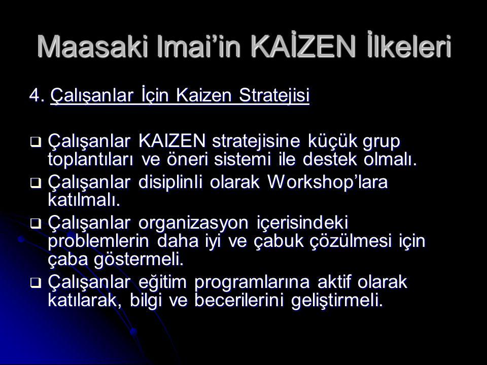 Maasaki Imai'in KAİZEN İlkeleri 4. Çalışanlar İçin Kaizen Stratejisi  Çalışanlar KAIZEN stratejisine küçük grup toplantıları ve öneri sistemi ile des
