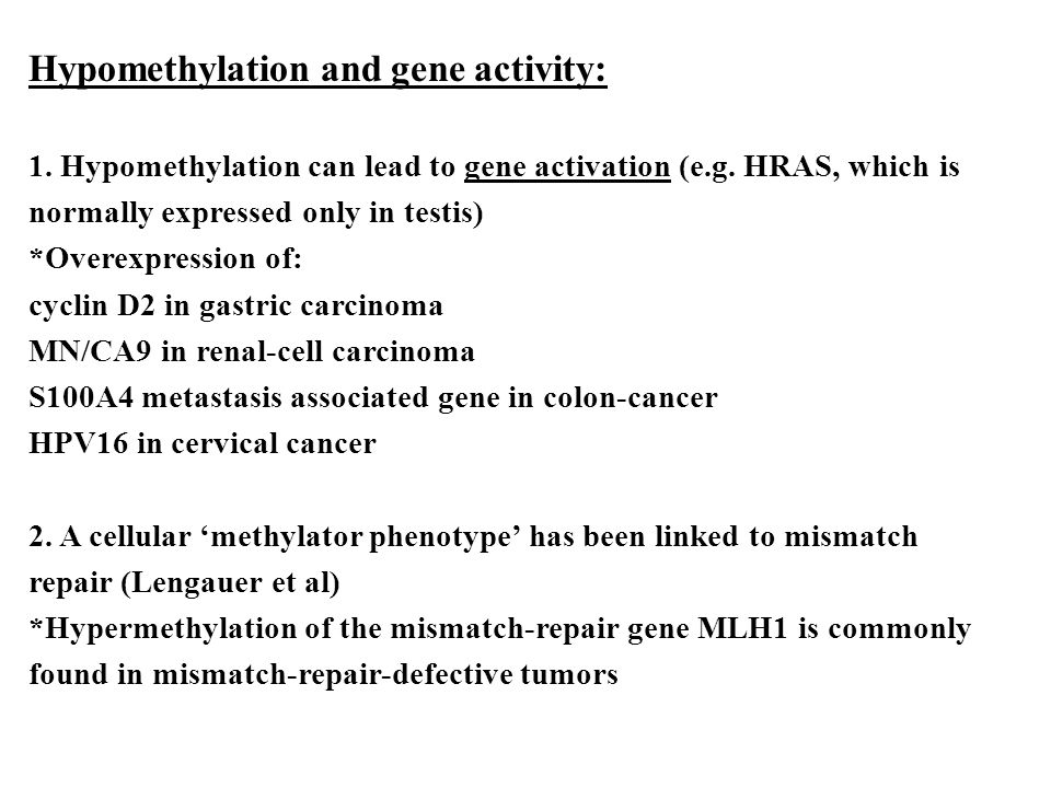 Hypomethylation and gene activity: 1.Hypomethylation can lead to gene activation (e.g.