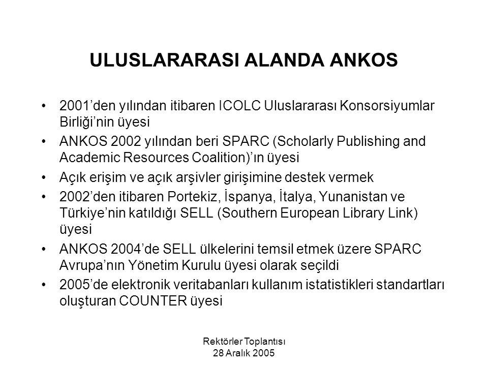 Rektörler Toplantısı 28 Aralık 2005 ULUSLARARASI ALANDA ANKOS 2001'den yılından itibaren ICOLC Uluslararası Konsorsiyumlar Birliği'nin üyesi ANKOS 2002 yılından beri SPARC (Scholarly Publishing and Academic Resources Coalition)'ın üyesi Açık erişim ve açık arşivler girişimine destek vermek 2002'den itibaren Portekiz, İspanya, İtalya, Yunanistan ve Türkiye'nin katıldığı SELL (Southern European Library Link) üyesi ANKOS 2004'de SELL ülkelerini temsil etmek üzere SPARC Avrupa'nın Yönetim Kurulu üyesi olarak seçildi 2005'de elektronik veritabanları kullanım istatistikleri standartları oluşturan COUNTER üyesi