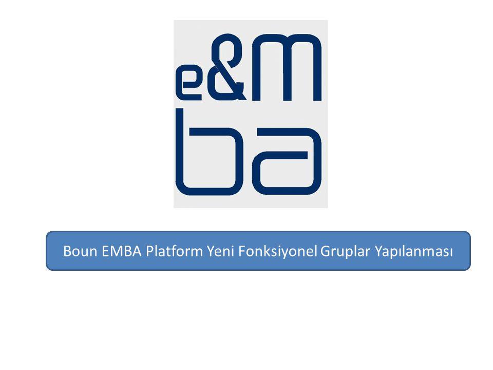 Boun EMBA Platform Yeni Fonksiyonel Gruplar Yapılanması