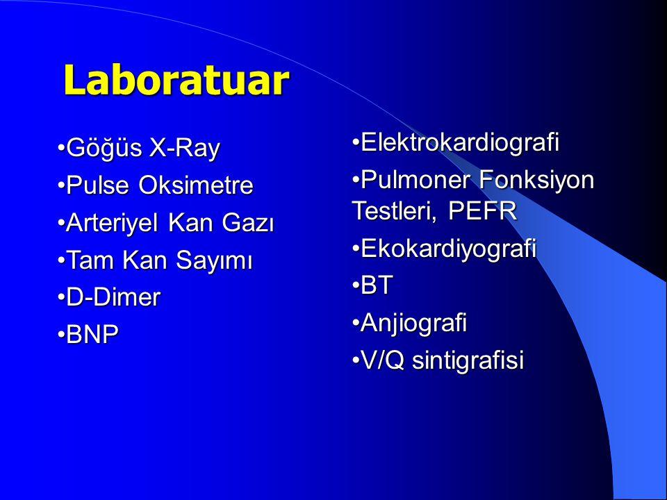 Göğüs X-RayGöğüs X-Ray Pulse OksimetrePulse Oksimetre Arteriyel Kan GazıArteriyel Kan Gazı Tam Kan SayımıTam Kan Sayımı D-DimerD-Dimer BNPBNP Laboratu