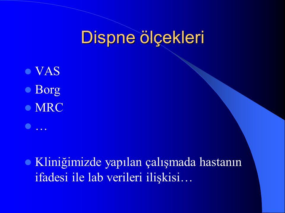 Dispne ölçekleri VAS Borg MRC … Kliniğimizde yapılan çalışmada hastanın ifadesi ile lab verileri ilişkisi…