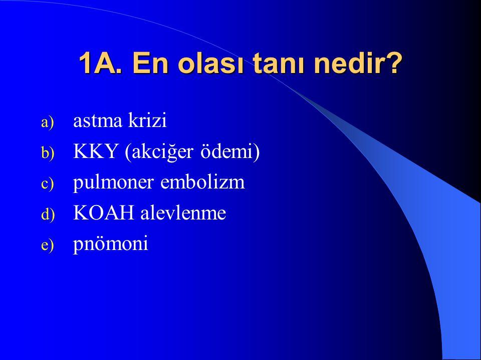 1A. En olası tanı nedir? a) astma krizi b) KKY (akciğer ödemi) c) pulmoner embolizm d) KOAH alevlenme e) pnömoni