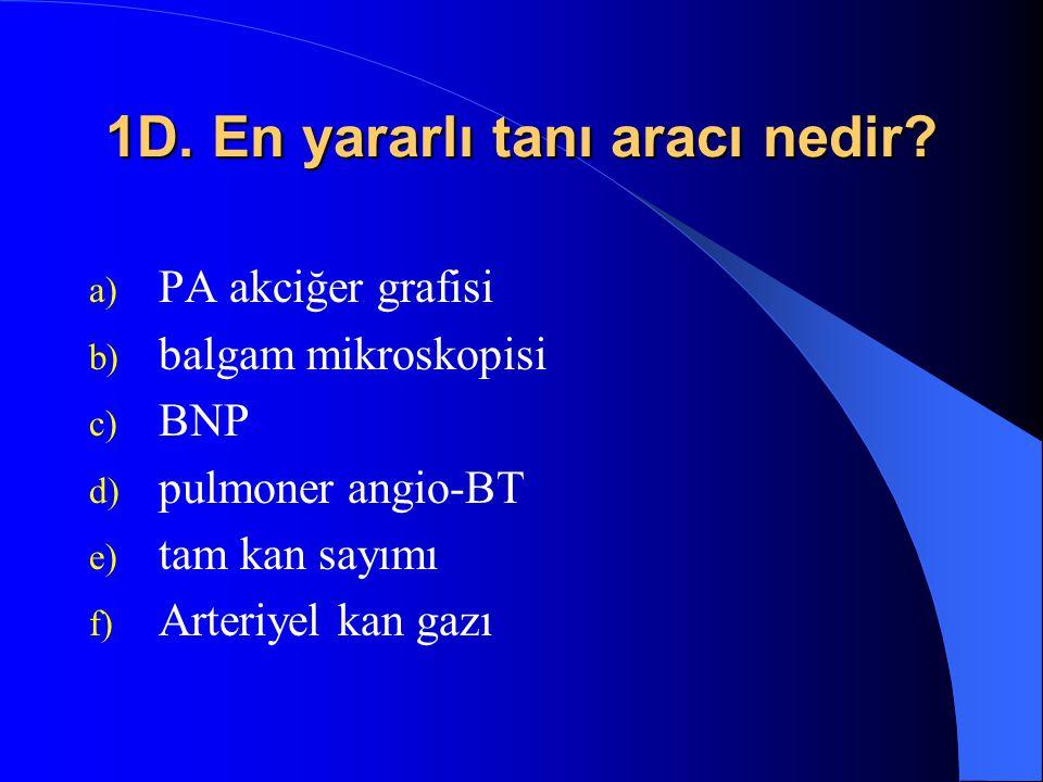 1D. En yararlı tanı aracı nedir? a) PA akciğer grafisi b) balgam mikroskopisi c) BNP d) pulmoner angio-BT e) tam kan sayımı f) Arteriyel kan gazı