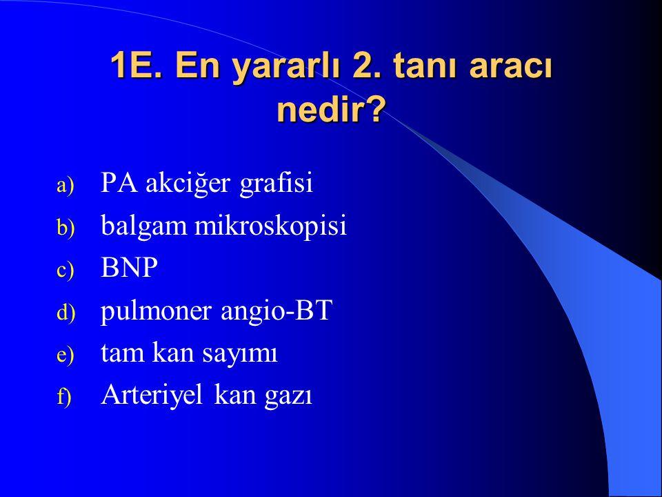 1E. En yararlı 2. tanı aracı nedir? a) PA akciğer grafisi b) balgam mikroskopisi c) BNP d) pulmoner angio-BT e) tam kan sayımı f) Arteriyel kan gazı