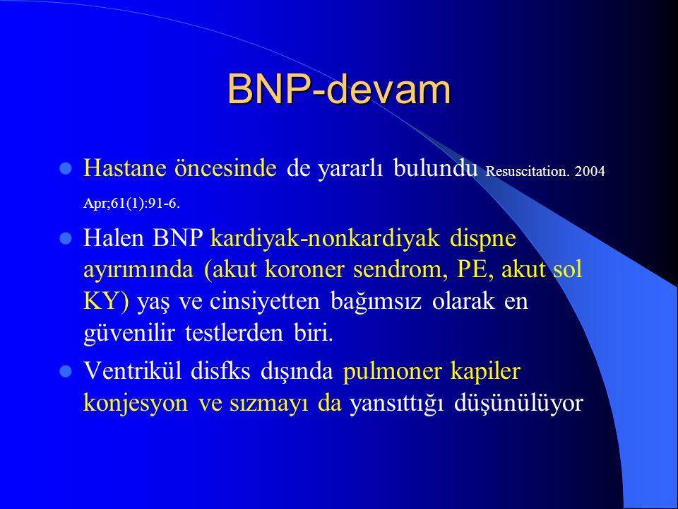 BNP-devam Hastane öncesinde de yararlı bulundu Resuscitation. 2004 Apr;61(1):91-6. Halen BNP kardiyak-nonkardiyak dispne ayırımında (akut koroner send