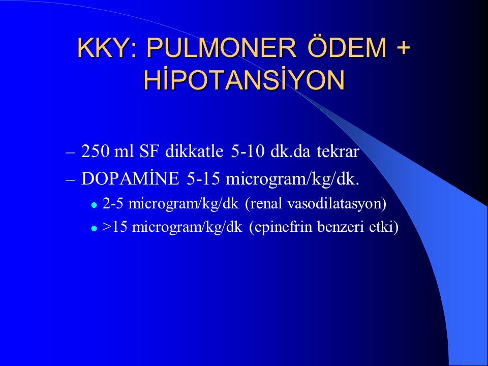 KKY: PULMONER ÖDEM + HİPOTANSİYON – 250 ml SF dikkatle 5-10 dk.da tekrar – DOPAMİNE 5-15 microgram/kg/dk. 2-5 microgram/kg/dk (renal vasodilatasyon) >
