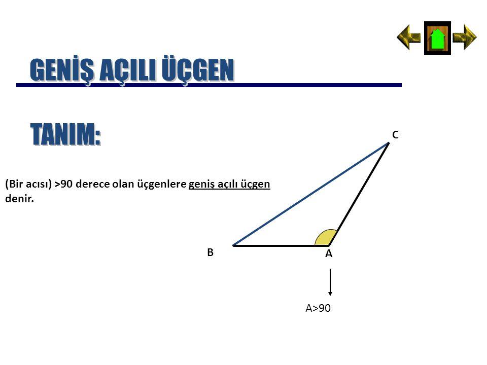 (Bir acısı) >90 derece olan üçgenlere geniş açılı üçgen denir. A B C A>90
