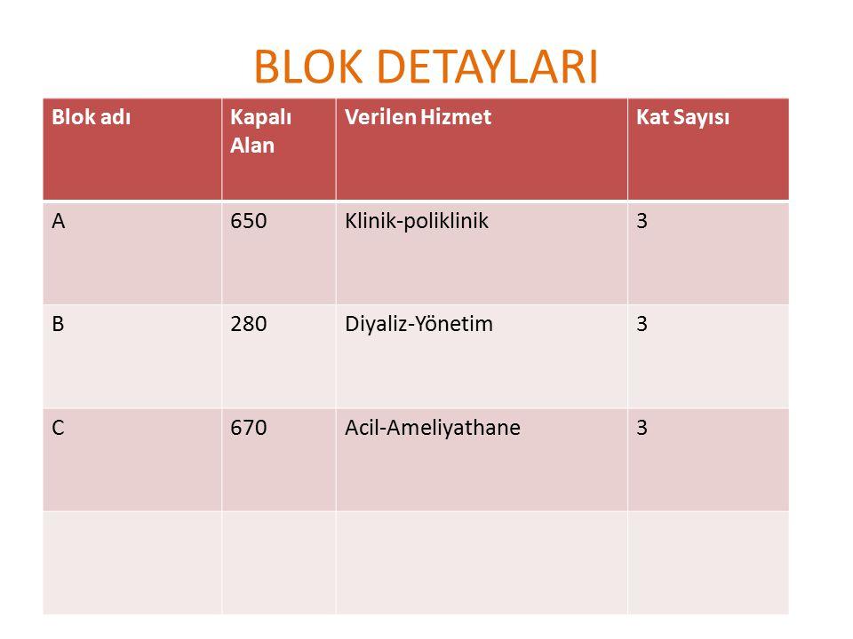 BLOK DETAYLARI Blok adıKapalı Alan Verilen HizmetKat Sayısı A650Klinik-poliklinik3 B280Diyaliz-Yönetim3 C670Acil-Ameliyathane3