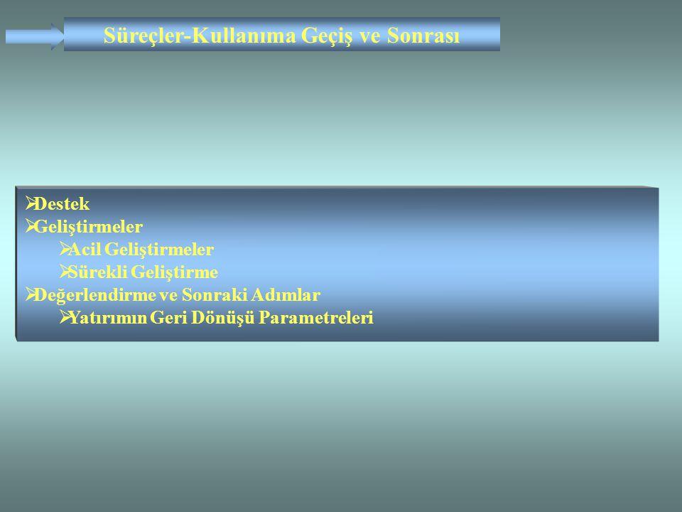  Destek  Geliştirmeler  Acil Geliştirmeler  Sürekli Geliştirme  Değerlendirme ve Sonraki Adımlar  Yatırımın Geri Dönüşü Parametreleri Süreçler-K